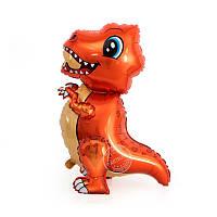 """Шар фигурный  4-Д  """"Динозавр Тиранозавр малыш"""" 75 см оранжевый Китай, фото 1"""