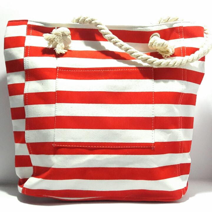 Пляжная сумка текстильная летняя красная полоса