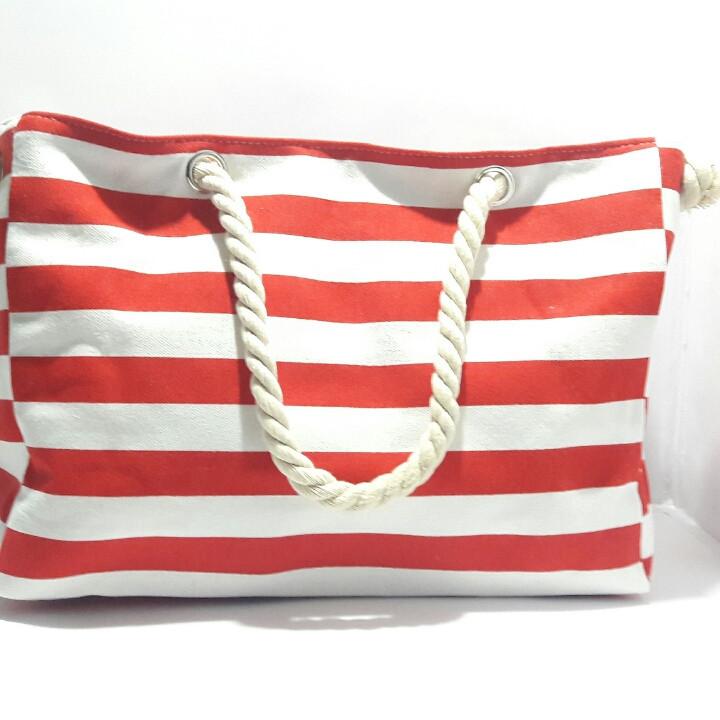 Сумка пляжная текстильная летняя для пляжа форма бочонка красная полоса