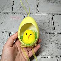 Декор пасхальный, подвеска Пасхальное яйцо с цыпленком, желтое
