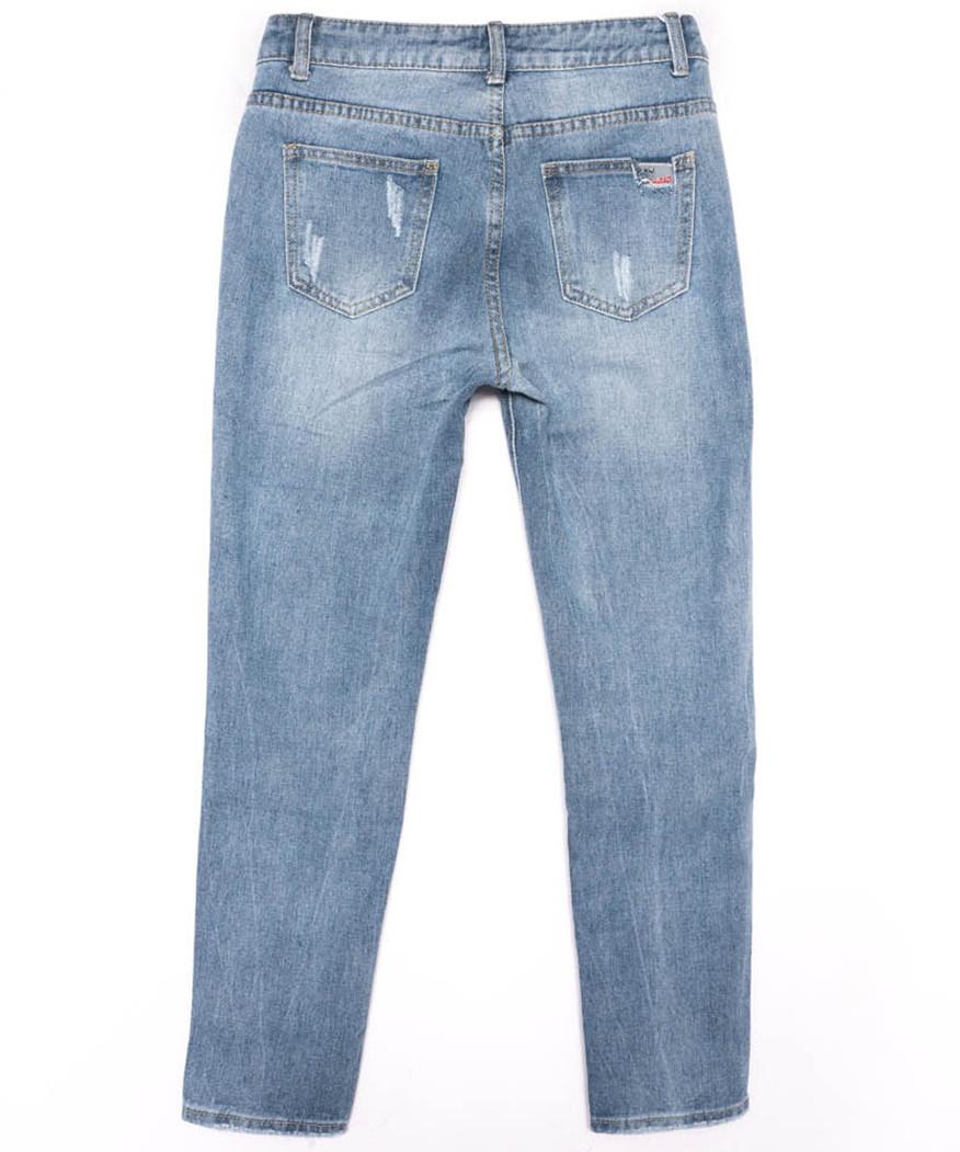 3619 New jeans мом с царапками синий весенний коттоновый (25-30, 6 ед.)