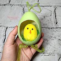Декор пасхальный, подвеска Пасхальное яйцо с цыпленком, салатовое