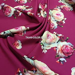 Ткань барби принт розы марсала
