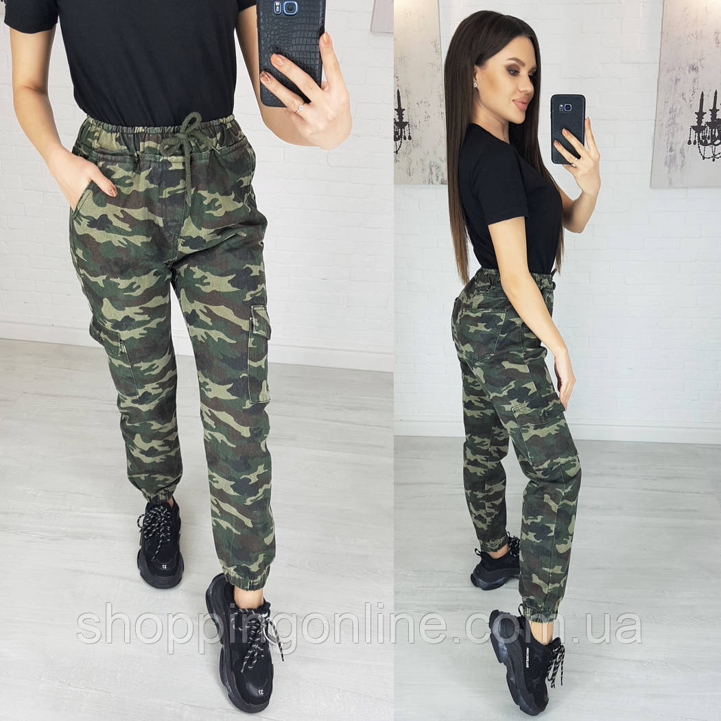 1243 X джинсы женские камуфляжные на резинке котоновые (25,26,26,26,28, 5 ед.)