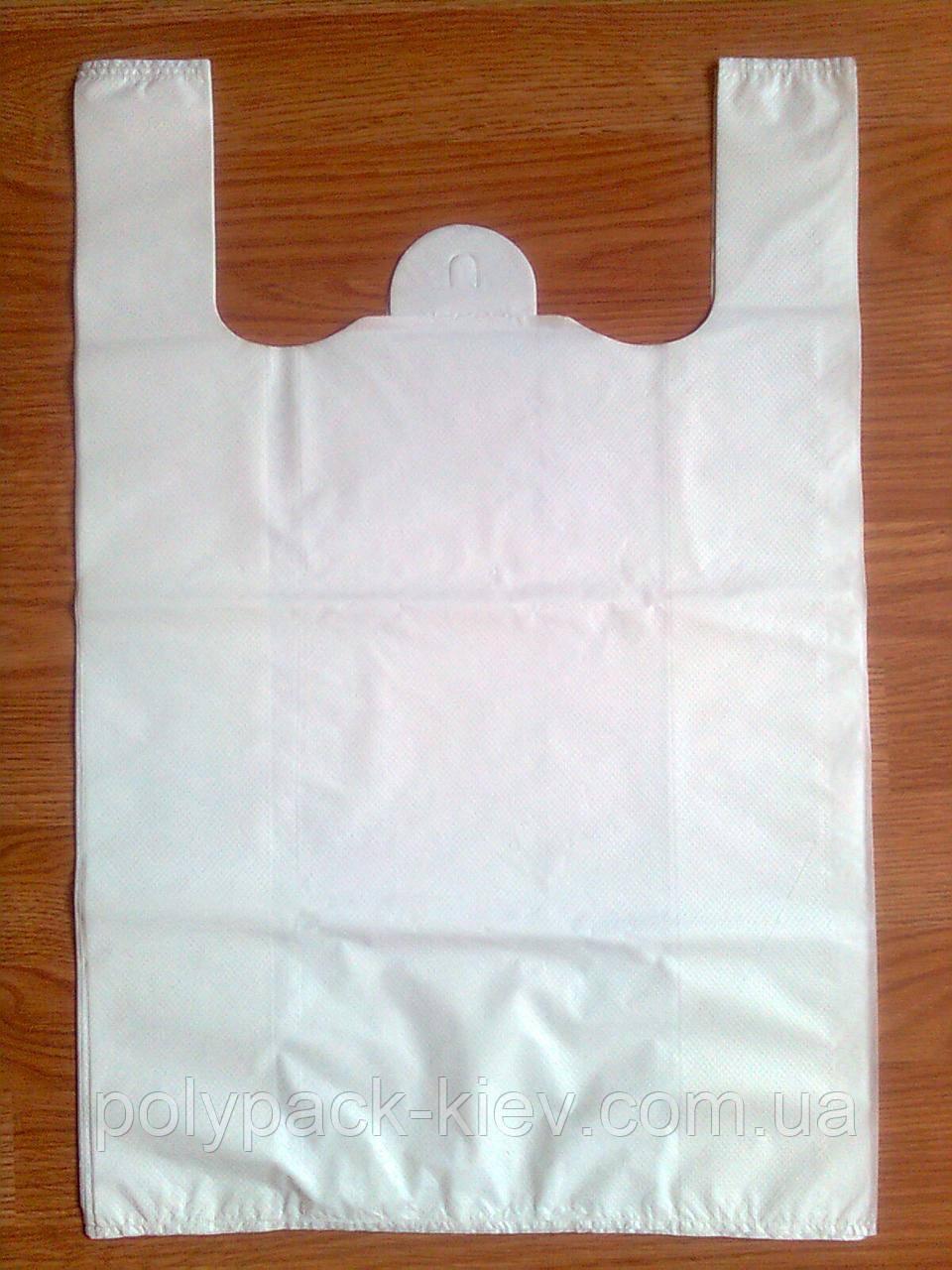 Пакет майка 38*57см/40 мкм щільний без печатки пакети майка білі без логотипу без малюнка купити виробник