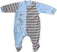 Комбинезон велюровый для мальчика голубой с полосками, рост 68 см, 74 см, Ля-ля
