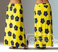 Яркая летняя длинная желтая юбка из штапеля в цветочек больших размеров 48-54. Арт-3050/41