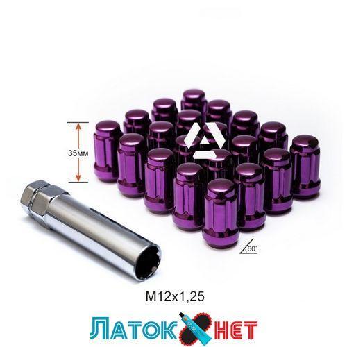 Гайка колесная A211444SD PP M12X1,25 Фиолетовый Хром высота 35 мм 6 лучей закрытые 20 гаек и 1 спецключ