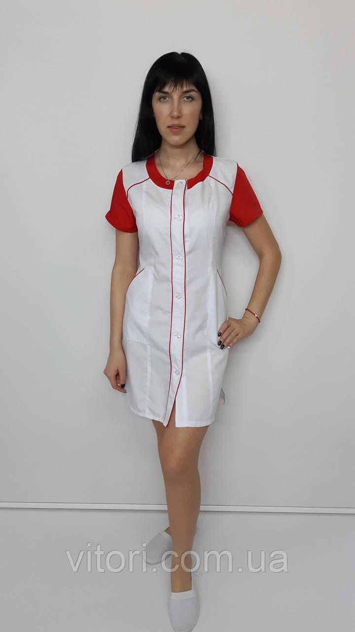 Медицинский женский халат Лиза хлопок короткий рукав