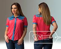 Стильная женская летняя яркая рубашка батал с коротким рукавом и джинсовыми вставками (р.48-52). Арт-3052/41