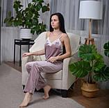 Велюровая пижама тройка на хлопковой основе (майка, штаны, шорты), фото 4