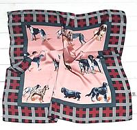 Шелковый платок Dogs, 70х70 см, пудровый