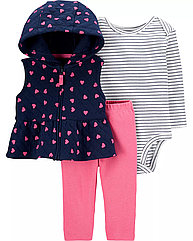 Набор для девочки Carter's жилетка + боди + штанишки , костюм картерс