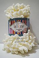 Велюровая (плюшевая) пряжа петлями PUFFY FINE NEW № 62 - молочный