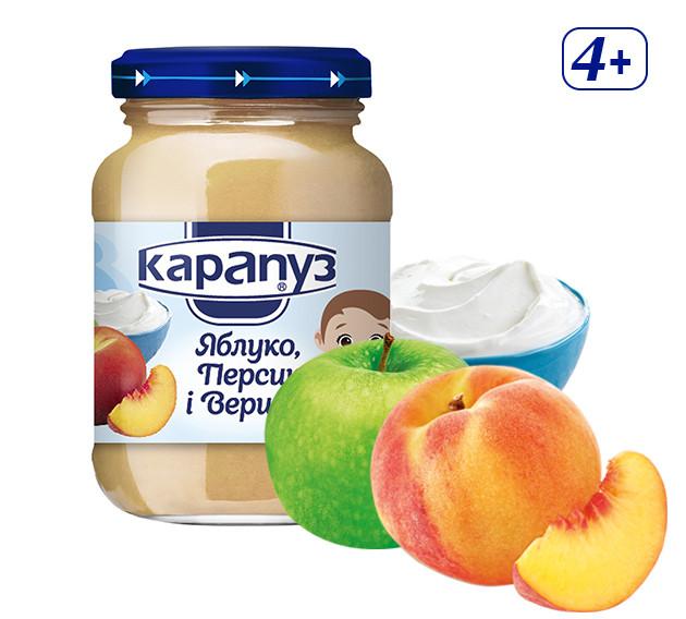 Пюре Карапуз яблуко, персик, вершки 125г с 4 мес
