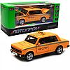 Машинка игровая автопром «Lada 2106: такси» металл, 14 см, желтый, свет, звук, двери открываются (7643)