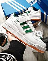 Adidas Forum Mid Full White зеленые полоски