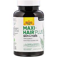 """Витамины для волос Country Life """"Maxi-Hair Plus"""" витамины и минералы + Биотин 5.000 мкг (120 капсул)"""