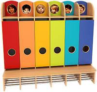 Шкаф для раздевалки, со стационарной лавочкой, полузакрытый из серии «Мыльные пузыри» плюс, фото 1
