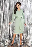 Оливковое шелковое Платье прямого кроя
