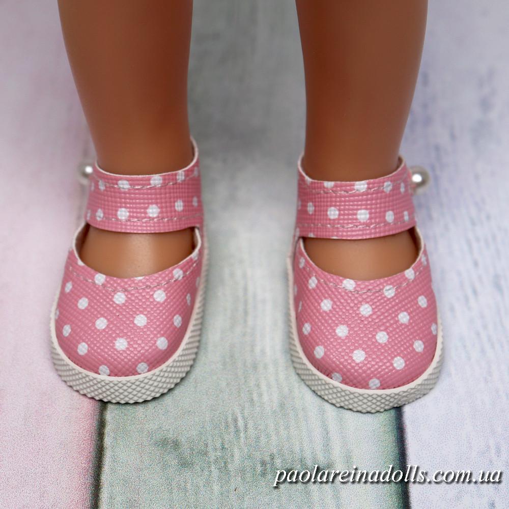 Туфли с ремешком розовые в горошек для кукол Паола Рейна