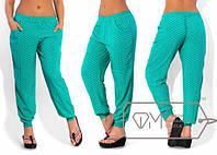 Цветные летние стильные легкие штаны-шаровары из штапеля в горошек (р.48-54).  Арт-3063/41