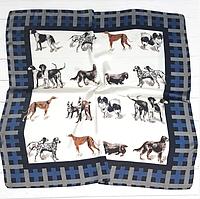 Шелковый платок Dogs, 70х70 см, белый/индиго