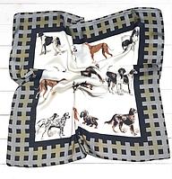 Шелковый платок Dogs, 70х70 см, белый/графит