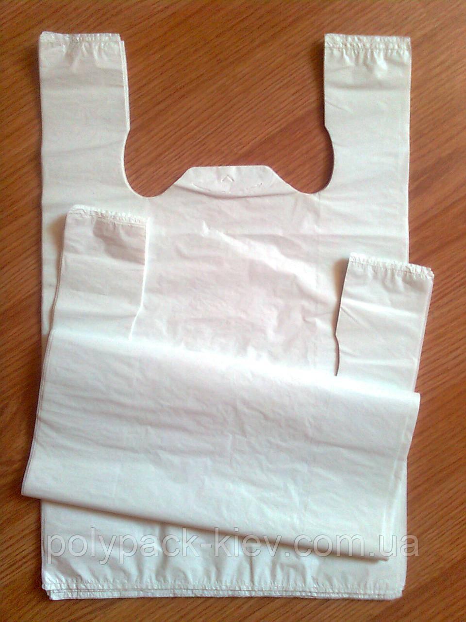 Білі пакети майка 27*45 см/ 20 мкм без печатки, поліетиленові пакети купити Київ пакет білий від виробника