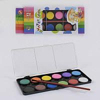 Краски акварельные для рисования, палитра 12 цветов, кисточка, в коробке - 183651