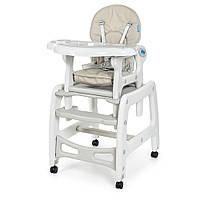 Cтульчик M 1563-11 (1шт) для кормления, 2в1 (столик со стульчиком), качалка, колеса 4шт, кож,серый