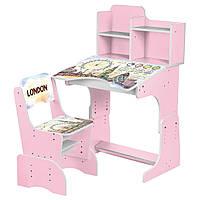 Парта B 2071-36(UA) (1шт) регулир-я высота(4полож),со стульчиком,столешница69-47см,Лондон акв,розовый