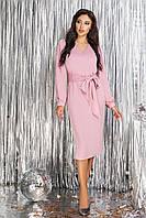 Розовое шелковое Платье прямого кроя