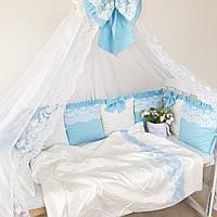 """Бортики в кроватку """" голубой бантик"""""""