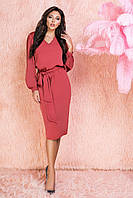 Красное шелковое Платье прямого кроя