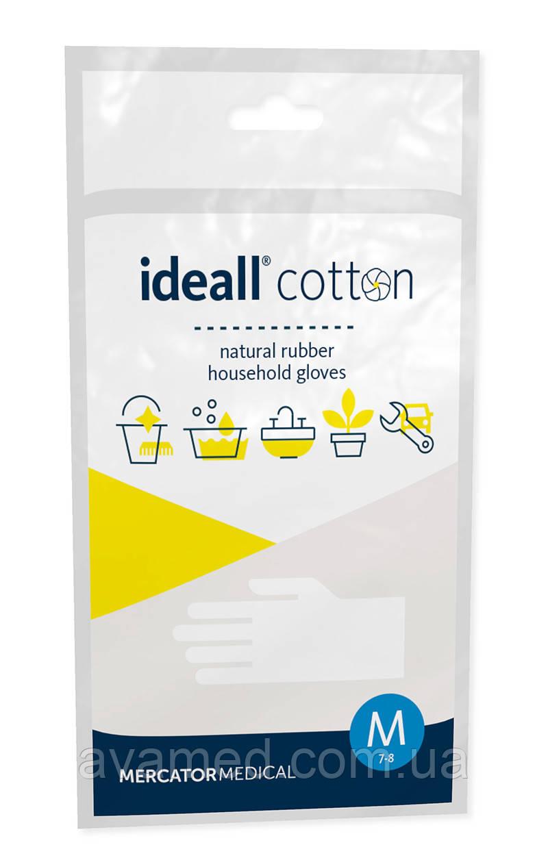 Рукавички IDEALL Cotton гумові флокированные (бавовняне напилення) по внутрішній стороні долоні
