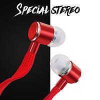 Наушники шнурки с микрофоном красные, фото 1