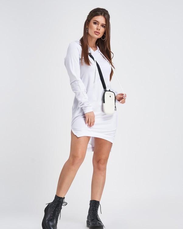 Белое трикотажное асимметричное платье с капюшоном (S M L XL)