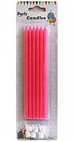 Свечи Длинные (6 штук) Розовые/блестки