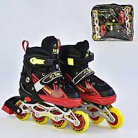 Ролики Best Roller размер 38-41, черные с красным, колеса PU, в сумке - 185938