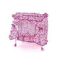 Кроватка для кукол Melobo металлическая с балдахином розовая R183657
