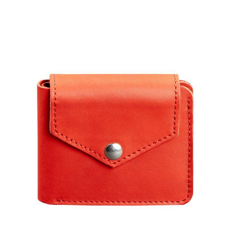 Женское кожаное портмоне Blanknote 4.2 на кнопке коралловое