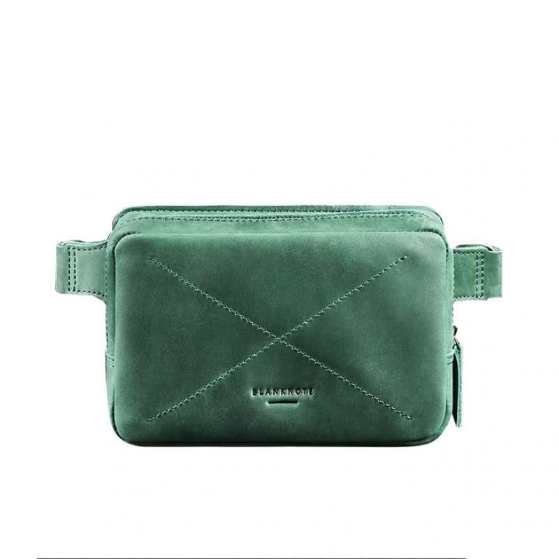 Кожаная поясная сумка Blanknote Dropbag Mini зеленая