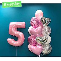 Композиция с розовых шаров на 5 летие