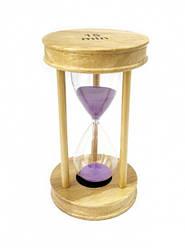 Песочные часы 15 минут на круглой деревянной подставке сиреневый  песок