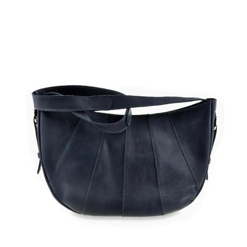 Кожаная женская сумка Blanknote Круассан синяя