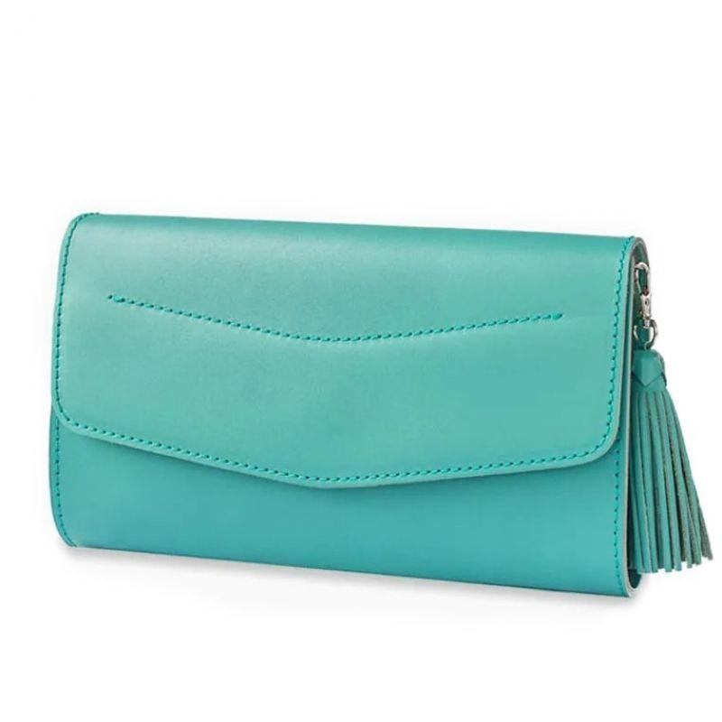 Кожаная женская сумка Blanknote Элис бирюзовая