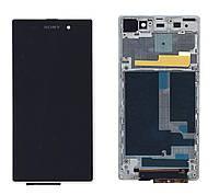 Матрица с тачскрином модуль для Sony Xperia Z1 C6902 черный с белой рамкой