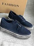 Мокасины,кеды, туфли слипоны синего цвета из натуральной замши, фото 5