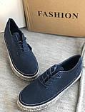 Мокасины,кеды, туфли слипоны синего цвета из натуральной замши, фото 6